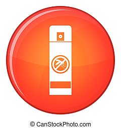 Mosquito spray icon, flat style - Mosquito spray icon in red...