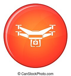 Drone video camera icon, flat style