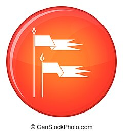 Ancient battle flags icon, flat style - Ancient battle flags...