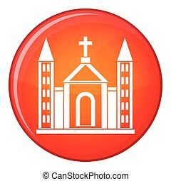 Christian catholic church building icon in red circle...