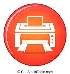 Printer icon, flat style - Printer icon in red circle...