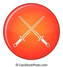 Swords icon, flat style - Swords icon in red circle isolated...