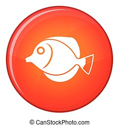 Tang fish, Zebrasoma flavescens icon, flat style - Tang...