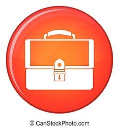Briefcase icon, flat style - Briefcase icon in red circle...