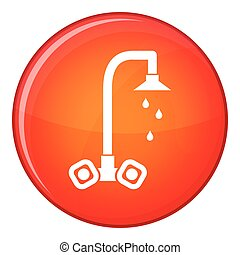 Dripping tap icon, flat style - Dripping tap icon in red...