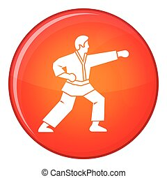 Aikido fighter icon, flat style - Aikido fighter icon in red...