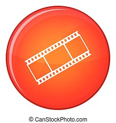 Film with frames icon, flat style