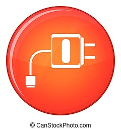 Mini charger icon, flat style - Mini charger icon in red...