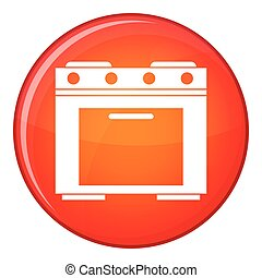 Gas stove icon, flat style - Gas stove icon in red circle...