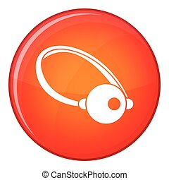 Clown nose icon, flat style - Clown nose icon in red circle...