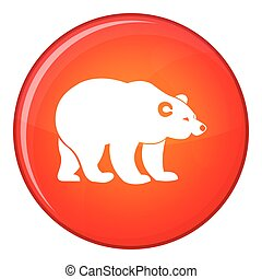 Bear icon, flat style - Bear icon in red circle isolated on...