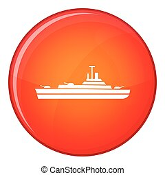 Warship icon, flat style - Warship icon in red circle...