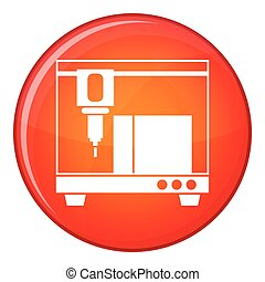 3D printer icon, flat style - 3D printer icon in red circle...