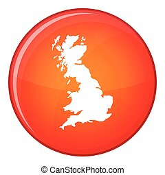 Map of Great Britain icon, flat style