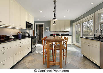 Kitchen with wooden table