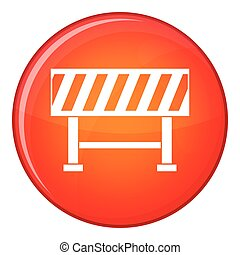 Traffic barrier icon, flat style - Traffic barrier icon in...
