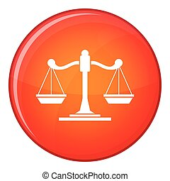 Scales of justice icon, flat style - Scales of justice icon...