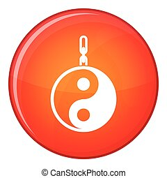 Sign yin yang icon, flat style - Sign yin yang icon in red...