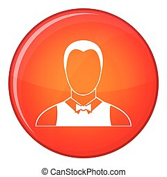 Waiter icon, flat style - Waiter icon in red circle isolated...