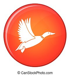 Duck icon, flat style - Duck icon in red circle isolated on...