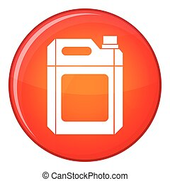 Plastic jerry can icon, flat style - Plastic jerry can icon...