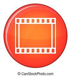 Film with frames movie icon, flat style