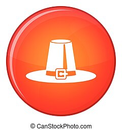 Pilgrim hat icon, flat style - Pilgrim hat icon in red...