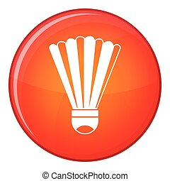 Shuttlecock icon, flat style - Shuttlecock icon in red...