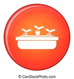 Carrots in a wooden pot icon, flat style - Carrots in a...
