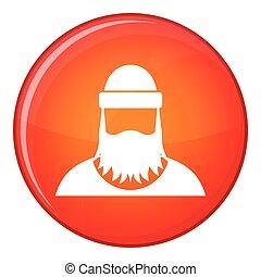 Lumberjack icon, flat style - Lumberjack icon in red circle...
