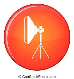 Studio lighting equipment icon, flat style - Studio lighting...