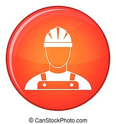 Builder icon, flat style - Builder icon in red circle...
