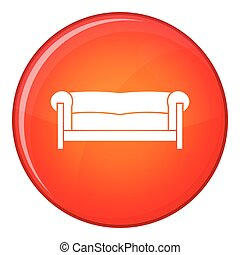 Sofa icon, flat style - Sofa in simple style isolated on...