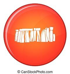Stonehenge icon, flat style - Stonehenge icon in red circle...
