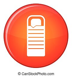 Sleeping bag icon, flat style - Sleeping bag icon in red...