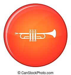 Brass trumpet icon, flat style - Brass trumpet icon in red...