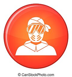 Paintball player wearing protective mask icon in red circle...