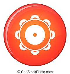 Tambourine icon, flat style - Tambourine icon in red circle...