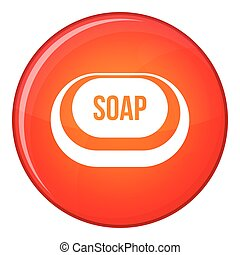 Soap icon, flat style - Soap icon in red circle isolated on...
