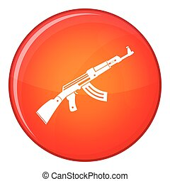 Submachine gun icon, flat style - Submachine gun icon in red...