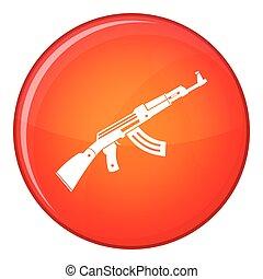 Submachine gun icon, flat style - Submachine gun icon in red...