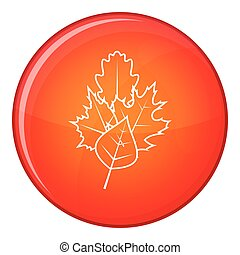 Leaves icon, flat style - Leaves icon in red circle isolated...