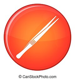 Tweezers icon, flat style - Tweezers icon in red circle...