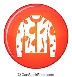Camouflage jacket icon, flat style - Camouflage jacket icon...