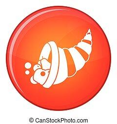 Thanksgiving cornucopia icon, flat style - Thanksgiving...