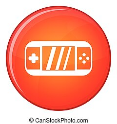 Portable video game console icon, flat style