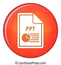 File PPT icon, flat style - File PPT icon in red circle...