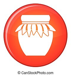 Jam in glass jar icon, flat style - Jam in glass jar icon in...