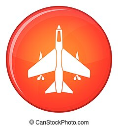 Armed fighter jet icon, flat style - Armed fighter jet icon...