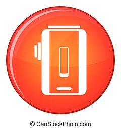 Charger icon, flat style - Charger icon in red circle...